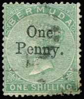 Lot 1285:1875 Surcharges 1d on 1/- green, SG #17, Cat £250.