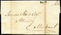 "Lot 1317 [1 of 2]:1807 (Jan 23) entire from Berthier to Montreal rated ""4½"" with 'paid' handstamp on face."
