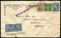 Lot 1437 [3 of 4]:1936-37 Harvie, Cooke & Co (Shanghai) covers to Henry B Smith (Melbourne), comprising [1] 1936 (Sep 29) endorsed 'BY FRENCH AIR MAIL SERVICE/VIA HANOI' and with Shanghai PO 'AIR MAIL VIA HANOI' handstamp in red, conveyed by combination of CNAC, Air France, and Imperial Airways services at rate of $1.75, backstamped Melbourne, and [2] 1937 (Jan 6) endorsed 'VIA HONGKONG & BY IAL', handstruck 'Via Hanoi' apparently applied in error, scored-over and replaced with 'VIA HONGKONG AND BY I.A.L.' handstamp (both Shanghai PO markings), a participant in Imperial Airways Hong Kong Feeder Service, again at $1.75 rate, backstamped Hong Kong, Melbourne; fine pair. (2)