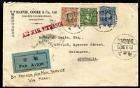 Lot 1437 [1 of 4]:1936-37 Harvie, Cooke & Co (Shanghai) covers to Henry B Smith (Melbourne), comprising [1] 1936 (Sep 29) endorsed 'BY FRENCH AIR MAIL SERVICE/VIA HANOI' and with Shanghai PO 'AIR MAIL VIA HANOI' handstamp in red, conveyed by combination of CNAC, Air France, and Imperial Airways services at rate of $1.75, backstamped Melbourne, and [2] 1937 (Jan 6) endorsed 'VIA HONGKONG & BY IAL', handstruck 'Via Hanoi' apparently applied in error, scored-over and replaced with 'VIA HONGKONG AND BY I.A.L.' handstamp (both Shanghai PO markings), a participant in Imperial Airways Hong Kong Feeder Service, again at $1.75 rate, backstamped Hong Kong, Melbourne; fine pair. (2)