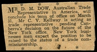 Lot 157 [2 of 2]:USA 1933 Pittsburgh Trade Convention name badge for DM Dow Official Secretary for Australia in the US. Very unusual.