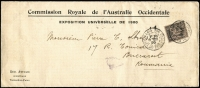 Lot 1746 [1 of 2]:1900 Exposition Universelle De Paris (Oct 11) 'Commission Royale de l'Australie Occidentale/...' cover to Roumania with 25c tied by 'PARIS 106/PLACE DU TROCADERO', Bucarest arrival backstamp & light strike of the postman's 'posthorn/94