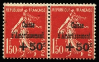 Lot 995:1931 Sinking Fund 1f50 + 50c carmine-red pair MUH, right unit with 'C' of 'Caisse' over 1st 't' of 'Amortissement' (Yv #277a Cat €585).