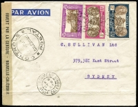 Lot 989 [2 of 2]:New Caledonia WWII Censor Covers To Australia [1] 1943 registered air cover with 10fr solo franking, Noumea black/white registration label & [2] 1941 air cover with 5fr, 3fr & 50c. Both with 'CONTROLE/POSTALE' handstamps applied in New Caledonia. Attractive. (2)