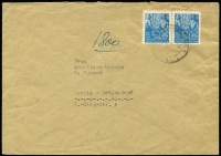 Lot 1493:1953? West Berlin Propaganda Forgeries 12pf blue pair used on cover, cancelled at 'Löwenberg (Marx) on 16.3.54, Mi #3, fresh & clean, Cat €1,000. König cert (2016). Very few covers recorded.