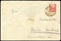 Lot 1494:1953? West Berlin Propaganda Forgeries 24pf carmine used on cover, cancelled at Elsterwerda on 10.7.54, Mi #4, minor soiling, Cat €1,000. König cert (2016). Very few covers recorded.