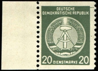 Lot 1363:1954? West Berlin Propaganda Forgeries 20pf olive-green Official horizontal imperf marginal stamp, Mi #8Uw, MUH and perfect, Cat €c.2,000. König cert (2016). Only 10 examples recorded.