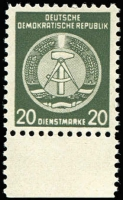 Lot 1503:1954? West Berlin Propaganda Forgeries 20pf olive-green Official marginal stamp, Mi #8, MUH and perfect, Cat €120. Hosang handstamp.