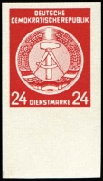 Lot 1364:1954? West Berlin Propaganda Forgeries 24pf scarlet Official imperf marginal stamp, Mi #9U, MUH and perfect, Cat €c.1,800. König cert (2016). Only 20 examples recorded.