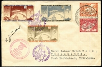Lot 1355:1934 Zuckers Rocket Mail cover with ½m, 1m & 3m stamps on face with 8pf+4pf & 12pf+3pf Wagner se-tenant pair. Zucker signature on face