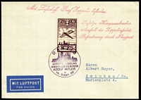 Lot 1322:1939 (Sep 19) plain envelope handstamped in red Mit Luftschiff: Graf Zeppelin befördert, further handstamped in red Infolge Kriegsausbruches. Ausfall der Zeppelinfahrt; Beförderung durch Flugpost (ie flight cancelled due war outbreak, sent by air). Franked Danzig 2½G Mi #206 (cat €120+ on cover) with special cancel.