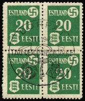 Lot 1523 [2 of 3]:1941 Tartu Issue: on thinner paper Mi #1-3y in blocks of four with central pictorial pmk 'DORPAT/11.1.1942/TAG DER BRIEFMARKE'. Fine to very fine (SG #3-5B, £212). (3 blks)