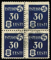 Lot 1523 [3 of 3]:1941 Tartu Issue: on thinner paper Mi #1-3y in blocks of four with central pictorial pmk 'DORPAT/11.1.1942/TAG DER BRIEFMARKE'. Fine to very fine (SG #3-5B, £212). (3 blks)