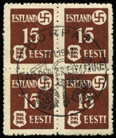 Lot 1523 [1 of 3]:1941 Tartu Issue: on thinner paper Mi #1-3y in blocks of four with central pictorial pmk 'DORPAT/11.1.1942/TAG DER BRIEFMARKE'. Fine to very fine (SG #3-5B, £212). (3 blks)