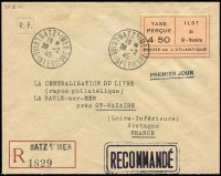 Lot 1501:1945 4.50Fr Registration Fee Stamp Type I: Mi #3.I on pre-addressed envelope with boxed pre-printed registration label and red 'RECOMMANDE' handstamp, the adhesive tied cds 'BATZs/MER/15*/28-2/45/LOIRE-INFERIEURE', another alongside. Backstamp La Baule following day. Pieles cert (2016).