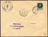 Lot 1357 [1 of 4]:1944 Cholet 'RF' Overprint: set of obliterated Petains on covers, 2f on one, 1f50 on one, 70c vermilion & 80c on one and 20c, 60c & 70c blue on the last. All tied with CHOLET/15*/31-8/44/MAINE ET LOIRE', FFL handstamp at left. Very Fine and attractive. All with Pieles certs (2015). Very rare. (4)