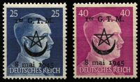 Lot 1359:1945 Tabors Marocains: pair of obliterated Large Hitler Heads, fresh MUH, faultless. With Pieles certs (2016). Very rare. (2)