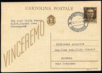 Lot 1498 [1 of 2]:1944 Overprinted Italian Postal Card 1 Lit on 30c brown locally addressed to Dobrota with bi-lingual Herzegovina cds Feb 10, 1944. Clear 1981 Certificate No. 6104 of Velemir Ercegovic (ZAGREB). Scarce, fine.