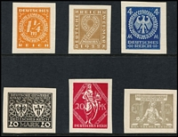 Lot 1482 [2 of 2]:1922 Munich Exhibition seven designs in various colours, by Professor Ehmcke and Von Weech including one of 1¼M which was the design adopted for issue. Rare. (7)