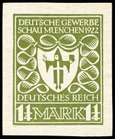 Lot 1482 [1 of 2]:1922 Munich Exhibition seven designs in various colours, by Professor Ehmcke and Von Weech including one of 1¼M which was the design adopted for issue. Rare. (7)