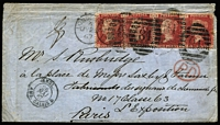 Lot 1533 [1 of 2]:1867 (May 25) cover with embossed Fairlie & Co (Engineers) on the flap, to their representative at No 17 Casse 63/L'Exposition/Paris with GB 1d Plate 81 strip of 4 tied by London duplex of MY25/67, 'ANGL/AMB CALAIS D' TPO transit on the face, two fine to largely very fine 'EXPOSITION UNIVERSELLE