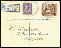 Lot 1393 [3 of 10]:1924 Empire Exhibition [1] registered cover group with double-circle '.../PALACE OF ENGINEERING' cds on 1½d Exhibition & 3d KGV; and similar '.../PALACE OF INDUSTRY' cds on two registered covers (one an uprated 1½d Exhibition Envelope to Western Australia); [2] Empire Exhibition machine cancels on 1½d on plain postcard; [3] 'BRITISH EMPIRE/[Lion]/EXHIBITION 1924' Krag slogan on commercial PPC from Brighton. (6)