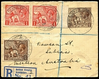 Lot 1393 [1 of 10]:1924 Empire Exhibition [1] registered cover group with double-circle '.../PALACE OF ENGINEERING' cds on 1½d Exhibition & 3d KGV; and similar '.../PALACE OF INDUSTRY' cds on two registered covers (one an uprated 1½d Exhibition Envelope to Western Australia); [2] Empire Exhibition machine cancels on 1½d on plain postcard; [3] 'BRITISH EMPIRE/[Lion]/EXHIBITION 1924' Krag slogan on commercial PPC from Brighton. (6)
