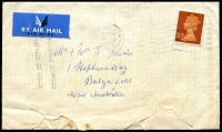 Lot 1553 [1 of 2]:1974 (Nov 19) commercial airmail cover at the 10p rate to WA with fine strike of the 2-line 'DELAYED EN ROUTE/AIRCRAFT HIJACKED' in black on reverse. Roughly opened and stained. [On 21/11/1974, a British Airways plane en route to Singapore was hijacked at Dubai. 23 passengers, including Australian aboriginal activist Kath Walker, were taken as hostages to Libya. The release of Palestinian prisoners was agreed to after a German national was executed.]