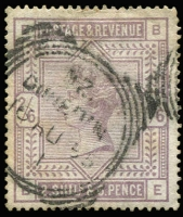 Lot 1530:1883-84 High Values on White Paper 2/6d lilac, SG #178, crease, unusually with New Zealand Dunedin squared circle cancel of 16AU85.