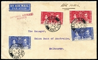 Lot 1421 [1 of 4]:1937 (July & Aug) Hong Kong & Shanghai Bank covers to same addressee in Melbourne featuring frankings of Coronation 15c (2) and 25c (5), later with KGV 5c perfin, both with 'IMPERIAL AIRWAYS/SERVICE' private handstamp, backstamped Melbourne, attractive and scarce frankings for 80c per ½oz rate. (2)