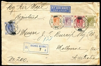 Lot 1548 [1 of 2]:1940 (Jan 20) Chartered Bank registered cover to Melbourne franked aggregate $3.70 comprising KGVI 25c, $2, $1, 15c and 30c, representing post-EAMS $1.15 per ½oz rate x3 plus 25c registration, small portion of perforated sealing tape at top tied by manuscript Chinese characters on reverse (Post Office repair?), most attractive.