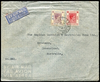 Lot 1642 [1 of 2]:1940 (Feb-Dec) Chartered Bank covers to Brisbane and Wellington, New Zealand franked $1.15 and $1.50 for combined airmail rate per ½oz to respective destinations. (2)