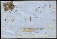 Lot 403:1866 (Sep) use of 10c deep brown Arms on outer from Pontedera to Livorno, small adhesions on face.