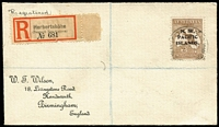 Lot 1335:1918 registered Wilson cover to UK with 2/- brown Roo tied by Kokopo Powell Type #14a datestamp, German-type Herbertshöhe registration label, fine condition.