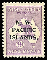 Lot 1330:1915-16 Kangaroos 2nd Wmk 9d violet SG #89, variety White flaw under TA of POSTAGE [2R58] BW #24(1)d, Cat $175 as an unoverprinted stamp.