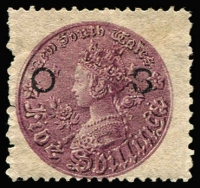 Lot 946:1880-88: 5/- reddish purple Wmk 5/- Inverted, P12x10 optd 'OS' (12½mm spacing) SG #O16 variety Weak 'S' of overprint, pulled perf at left, large-part og Cat £750. Very rare. Ceremuga Certificate (2017) notes the overprint variety.