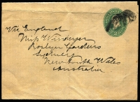 Lot 774 [3 of 6]:1890-1901 group of US postal stationery items and a covers, all addressed to Miss LA Windeyer from her sister Margaret Windeyer, who was the first female Exhibition Commissioner, representing New South Wales at the 1893 Columbian Exhibition. (6)