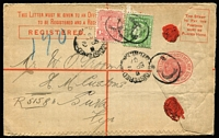 Lot 983 [1 of 2]:1907 (Sep 2) use of 1d & 3d (double-weight) on Registration Envelope from Sydney to HM Customs, Suva.