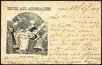 Lot 955 [1 of 2]:1896 1½d blue on cream, HG #18, with amusing printed German cartoon 'GRUSS AUS AUSTRALIEN/BEI DEN ANTIPODEN', 1899 use from Sydney to Germany. Plus 2nd card from the same series? of 'Sonntag im Busch', 1897 use from Sydney to Germany. Some aging. Most unusual to see pre-printed non-English illustrations on any Stationery. (2)