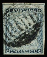 "Lot 930:1850 2d Sydney Views Plate II Bottom Row Retouched 2d Prussian blue No whip [pos 4] 4 good margins, SG #27a, Cat £375. Holcombe cert (1989) notes that ""SG do not list the retouches in the top row""."