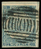 Lot 928:1850 2d Sydney Views Plate II Early Impressions 2d grey-blue [pos 22] 4 margins (2 large, 1 close), SG #23, Cat £300. Hunziker cert (1964).