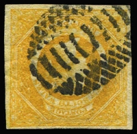 Lot 936:1854-59 Imperf Large Diadems Wmk Double-Lined Numeral 8d golden-yellow, 4-margins, SG #97, cancelled with contemporary Sydney bars postmark, Cat £1,400, BPA Certificate (1992) for the then SG #125.