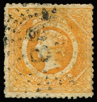"Lot 938:1860-72 Diadems Wmk Double-Lined Numeral Perf 12 8d orange, SG #150, '88' Rays cancel, Cat £1,200. BPA certificate (1995) mentions ""some staining"" but this is a very harsh assessment."