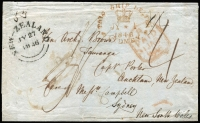 Lot 1600 [1 of 2]:1846 (Jan 31) outer from London to missionary Ven Arch Brown, Tauranga, c/- Messrs Campbell, Sydney. Additional 4d charged from Sydney to New Zealand. Fine unframed 'NEW-ZEALAND/JY27/1846' arrival on face. Capt Porter was the forwarding agent in Auckland. Only three examples recorded using this Forwarding Agent.