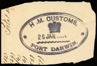 Lot 492:HM Customs: double-oval 'H.M. CUSTOMS/[crown]/26JAN1904