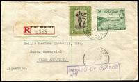 Lot 1359 [1 of 2]:1940 (Feb 10) Spychiger registered surface cover to Argentina with 1d Pictorial & 5d Declaration tied by Port Moresby datestamp, black/red registration label, 'PASSED BY CENSOR' boxed handstamp in violet, Sydney backstamp. Scarce origin/destination.