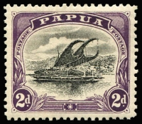 Lot 1231 [1 of 2]:1907-10 Small PAPUA Wmk Crown/A Upright Perf 11 ½d to 1/-, SG #49-54, 2d with Rift flaw, 1/- a little aged, Cat £110. (6)
