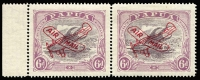 Lot 1238:1930 Air 6d dull purple & pale purple Ash printing variety 'POSTACE' at left [R6/2] SG #116a in marginal pair, fresh mint, Cat £100.