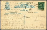 Lot 798 [3 of 8]:1915 Pan-Pacific Exposition Promotion: group produced to promote the Australian Pavilion at the 1915 Panama Pacific Exposition State issues for Queensland with [1] Green Borders, 15 different including 'Barron Falls', 'Pearling Fleet, Thursday Island', 'Queen Street...' (Trams), 'Sheep yarded for shearing', 'Stacking wheat at Goomburra', 'Travelling Threshing Plant, Yangan...' & 'Whitsunday Passage'; [2] very scarce multicoloured types 'Loading Bananas, Johnstone River' and 'Roma Grapes', the last used in America in 1917, the others are fine to very fine unused. A difficult group to assemble. (17)