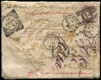 "Lot 963 [1 of 2]:1891 Australian Station Mail cover from Scotland with 1d lilac tied by superb 'DUNDEE/OC1/91 - 114' duplex, to John W Sutton/HMS Paluma/Brisbane Queensland with 'COOKTOWN/NO30/91/QUEENSLAND' cds on the face & Sydney backstamp of DE9/91, sent back to England where redirected several times to HMSs Victory, Vernon, Orlando & Seagull where endorsed on the flap ""Arrived here? not known on Seagull so I have sent it back so you can see where it has been"", also endorsed on the face ""Not Known/in/Asia"", various GB markings & finally returned to sender with superb 'PAIGNTON/JY28/02' cds on the face, rather soiled but oozing character. [In 1891, HMS Paluma was loaned to the Queensland Government to assist with the Queensland Survey]"